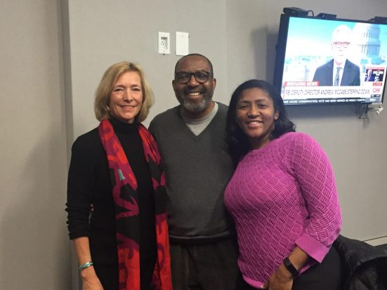 [From L to R] Maggie Burnette Stogner with WAMU Host Kojo Nnamdi and Women in Film and Video President Carletta Hurt